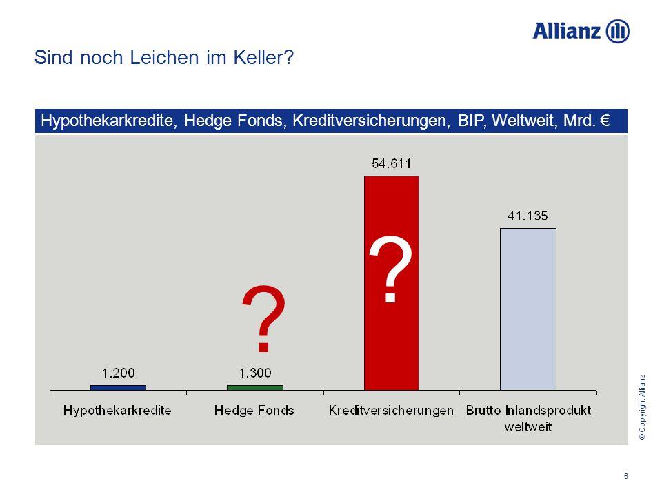 © Copyright Allianz Chancen Finanzmarktkrise - Roadshow - Wien, 4.11.2008 6 Sind noch Leichen im Keller.