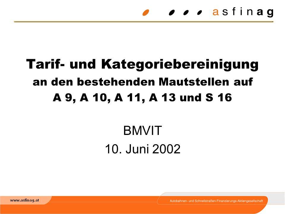 Tarif- und Kategoriebereinigung an den bestehenden Mautstellen auf A 9, A 10, A 11, A 13 und S 16 BMVIT 10.