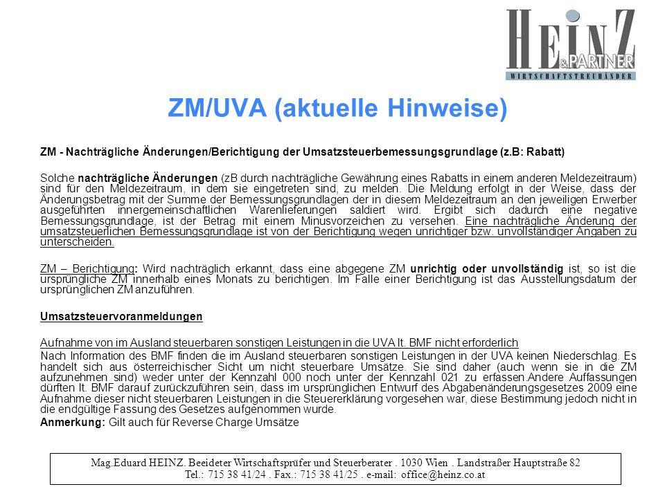 Mag.Eduard HEINZ. Beeideter Wirtschaftsprüfer und Steuerberater. 1030 Wien. Landstraßer Hauptstraße 82 Tel.: 715 38 41/24. Fax.: 715 38 41/25. e-mail: