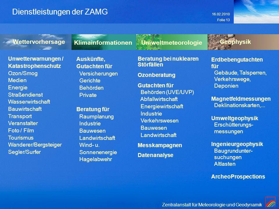 Zentralanstalt für Meteorologie und Geodynamik 16.02.2010 Folie 13 Dienstleistungen der ZAMG Klimainformationen Auskünfte, Gutachten für Versicherunge