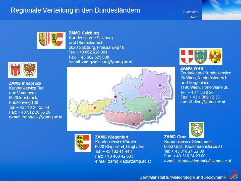 Zentralanstalt für Meteorologie und Geodynamik 16.02.2010 Folie 14 Regionale Verteilung in den Bundesländern ZAMG Innsbruck Kundenservice Tirol und Vo