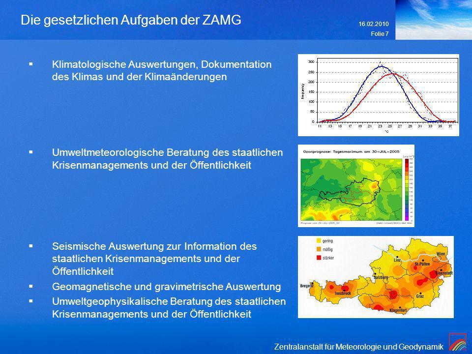 Zentralanstalt für Meteorologie und Geodynamik 16.02.2010 Folie 7 Die gesetzlichen Aufgaben der ZAMG Klimatologische Auswertungen, Dokumentation des K