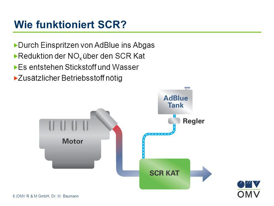 6 |OMV R & M GmbH, Dr. W. Baumann Wie funktioniert SCR? Durch Einspritzen von AdBlue ins Abgas Reduktion der NO x über den SCR Kat Es entstehen Sticks