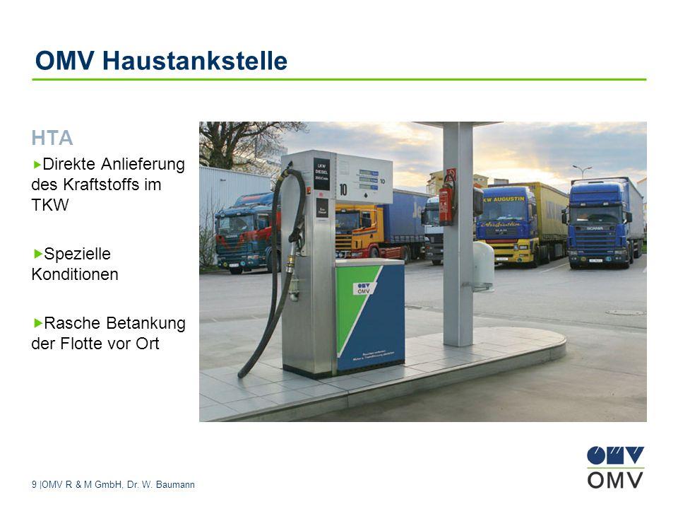 9 |OMV R & M GmbH, Dr. W. Baumann OMV Haustankstelle HTA Direkte Anlieferung des Kraftstoffs im TKW Spezielle Konditionen Rasche Betankung der Flotte