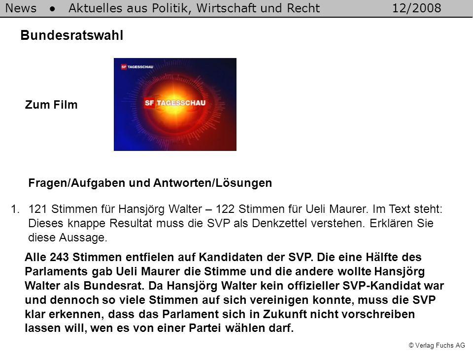 News Aktuelles aus Politik, Wirtschaft und Recht12/2008 © Verlag Fuchs AG Bundesratswahl 1.121 Stimmen für Hansjörg Walter – 122 Stimmen für Ueli Maurer.