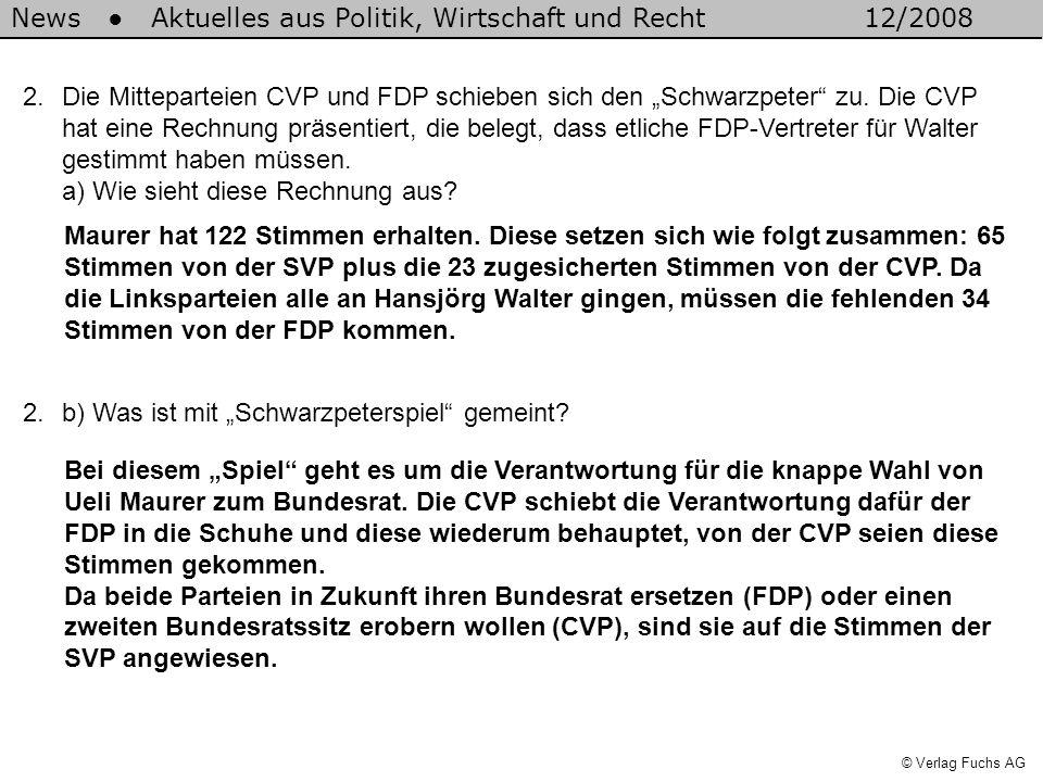 News Aktuelles aus Politik, Wirtschaft und Recht12/2008 © Verlag Fuchs AG 2.Die Mitteparteien CVP und FDP schieben sich den Schwarzpeter zu.