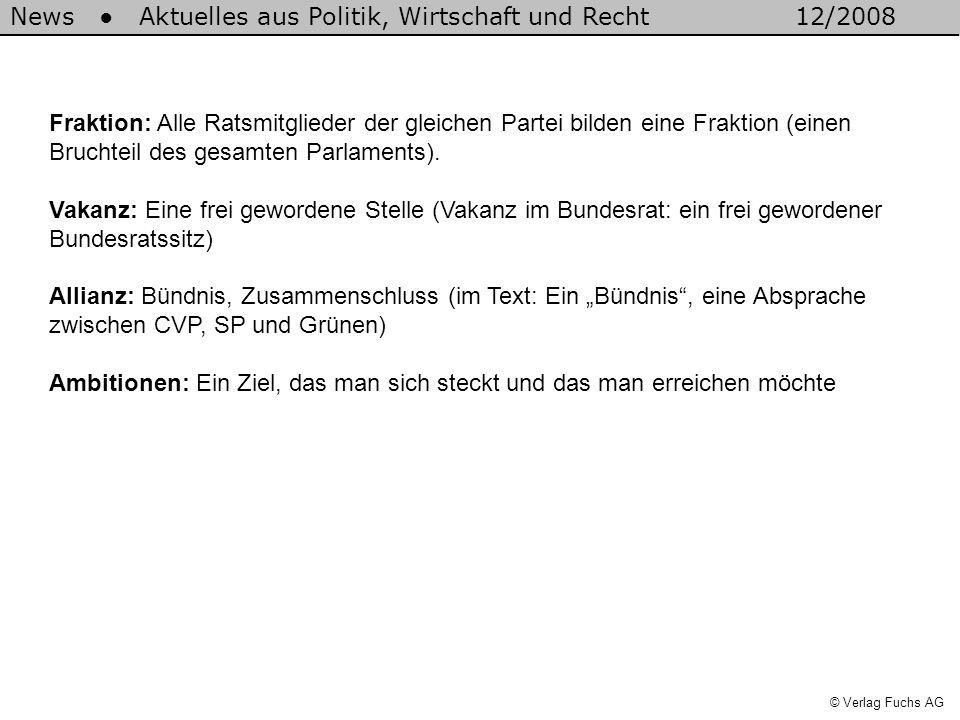 News Aktuelles aus Politik, Wirtschaft und Recht12/2008 © Verlag Fuchs AG Fraktion: Alle Ratsmitglieder der gleichen Partei bilden eine Fraktion (einen Bruchteil des gesamten Parlaments).
