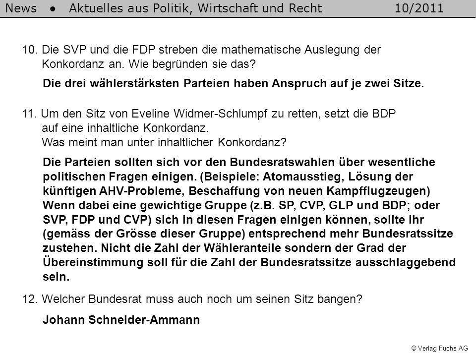 News Aktuelles aus Politik, Wirtschaft und Recht10/2011 © Verlag Fuchs AG 10. Die SVP und die FDP streben die mathematische Auslegung der Konkordanz a