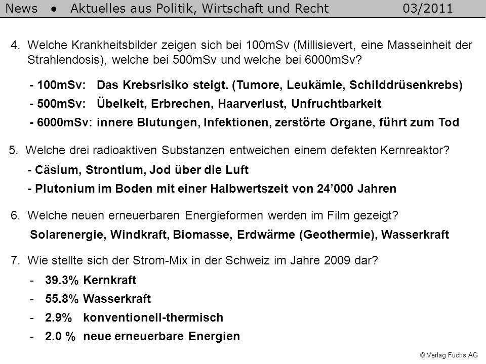 News Aktuelles aus Politik, Wirtschaft und Recht03/2011 © Verlag Fuchs AG 4.