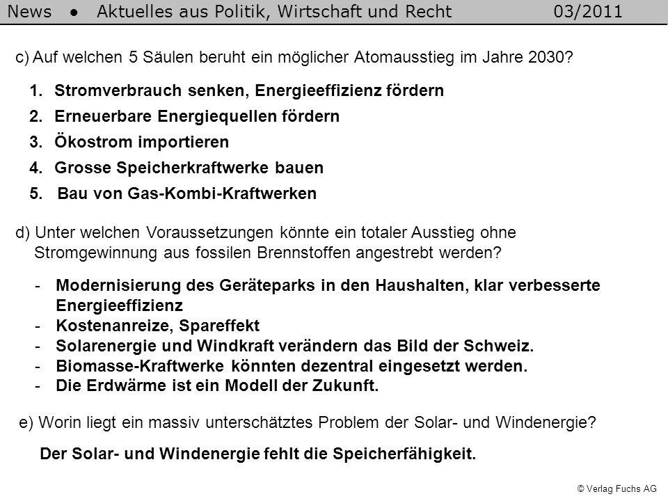 News Aktuelles aus Politik, Wirtschaft und Recht03/2011 © Verlag Fuchs AG c) Auf welchen 5 Säulen beruht ein möglicher Atomausstieg im Jahre 2030.