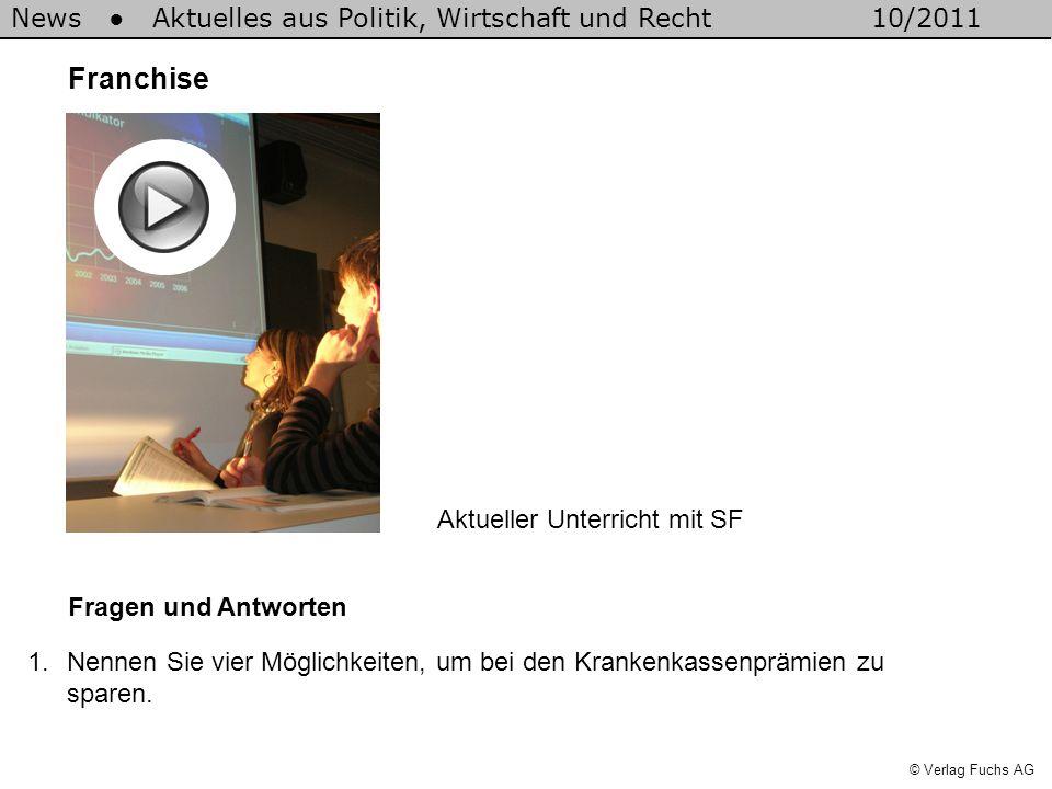 News Aktuelles aus Politik, Wirtschaft und Recht10/2011 © Verlag Fuchs AG a)Wechsel der Krankenkasse b)HMO-Modell wählen c)Hausarztmodell wählen d)Franchise erhöhen 2.