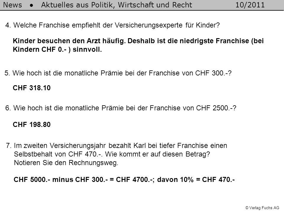 News Aktuelles aus Politik, Wirtschaft und Recht10/2011 © Verlag Fuchs AG 4. Welche Franchise empfiehlt der Versicherungsexperte für Kinder? 5. Wie ho