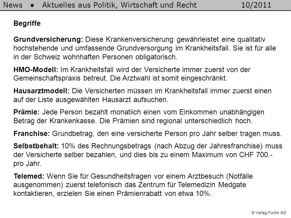 News Aktuelles aus Politik, Wirtschaft und Recht10/2011 © Verlag Fuchs AG Begriffe Grundversicherung: Diese Krankenversicherung gewährleistet eine qua