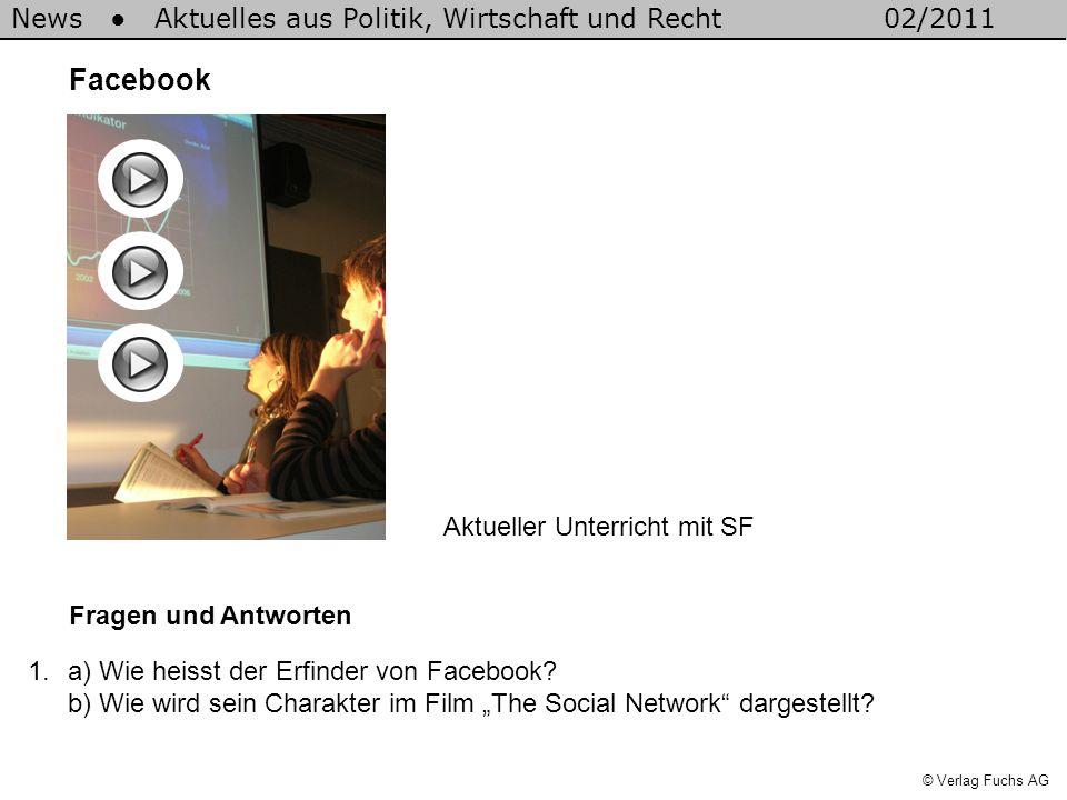 News Aktuelles aus Politik, Wirtschaft und Recht02/2011 © Verlag Fuchs AG Facebook Fragen und Antworten 1.a) Wie heisst der Erfinder von Facebook? b)