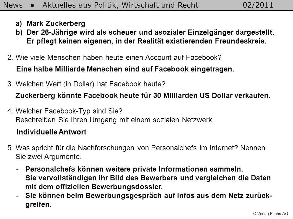News Aktuelles aus Politik, Wirtschaft und Recht02/2011 © Verlag Fuchs AG a)Mark Zuckerberg b)Der 26-Jährige wird als scheuer und asozialer Einzelgänger dargestellt.