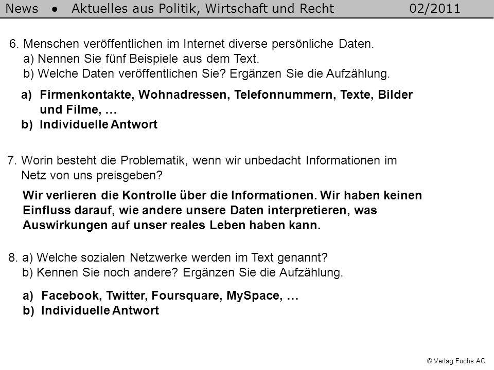 News Aktuelles aus Politik, Wirtschaft und Recht02/2011 © Verlag Fuchs AG 6. Menschen veröffentlichen im Internet diverse persönliche Daten. a) Nennen