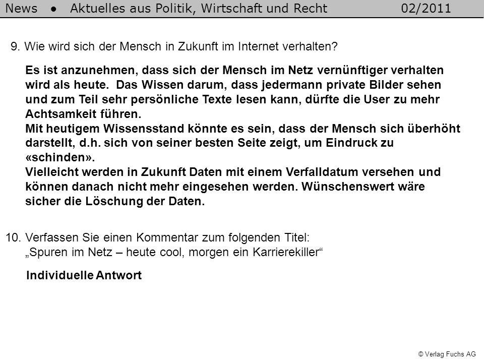 News Aktuelles aus Politik, Wirtschaft und Recht02/2011 © Verlag Fuchs AG 9. Wie wird sich der Mensch in Zukunft im Internet verhalten? Es ist anzuneh