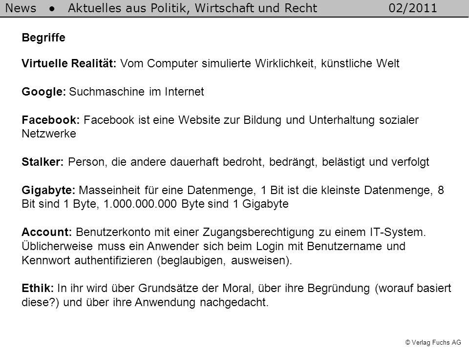News Aktuelles aus Politik, Wirtschaft und Recht02/2011 © Verlag Fuchs AG Begriffe Virtuelle Realität: Vom Computer simulierte Wirklichkeit, künstlich