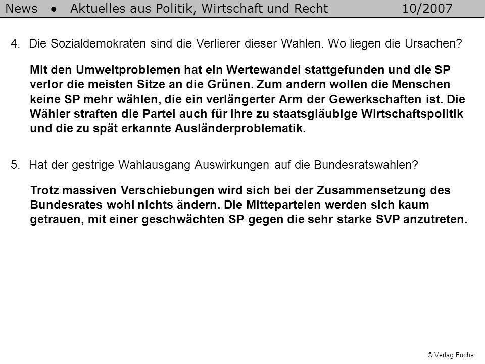 News Aktuelles aus Politik, Wirtschaft und Recht10/2007 © Verlag Fuchs 4.Die Sozialdemokraten sind die Verlierer dieser Wahlen.