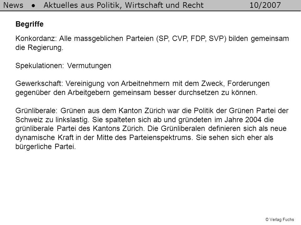 News Aktuelles aus Politik, Wirtschaft und Recht10/2007 Begriffe Konkordanz: Alle massgeblichen Parteien (SP, CVP, FDP, SVP) bilden gemeinsam die Regierung.