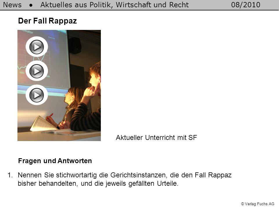News Aktuelles aus Politik, Wirtschaft und Recht08/2010 © Verlag Fuchs AG Der Fall Rappaz Fragen und Antworten 1.Nennen Sie stichwortartig die Gericht