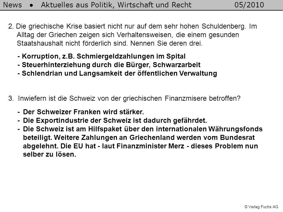 News Aktuelles aus Politik, Wirtschaft und Recht05/2010 © Verlag Fuchs AG 2.