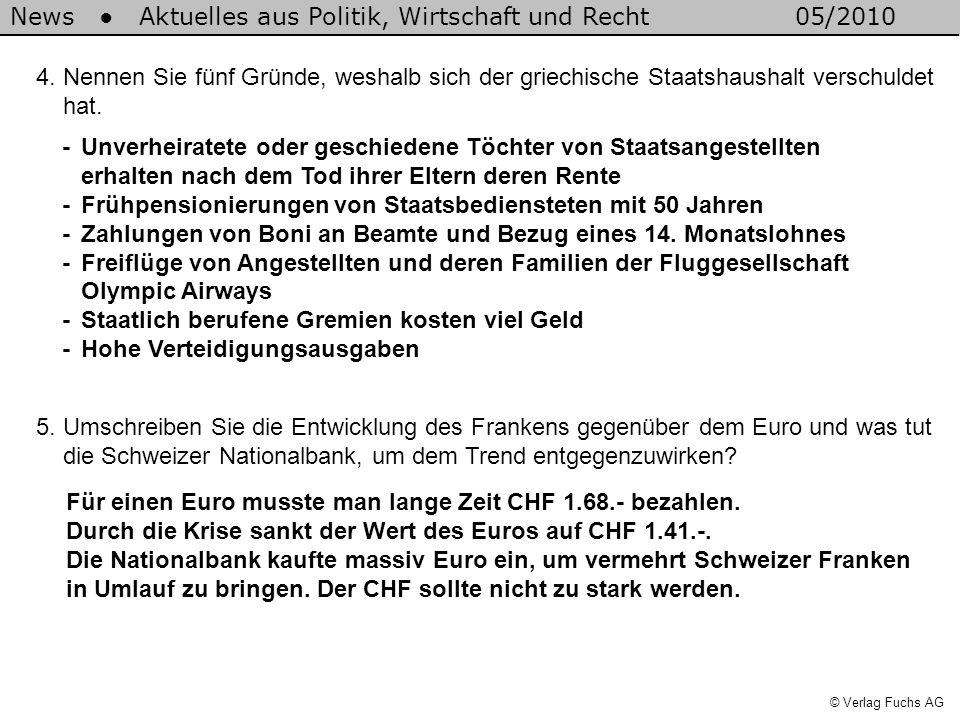 News Aktuelles aus Politik, Wirtschaft und Recht05/2010 © Verlag Fuchs AG Der ausländische Feriengast wird weniger Reisen in die Schweiz buchen, wenn der Schweizer Franken teurer wird.