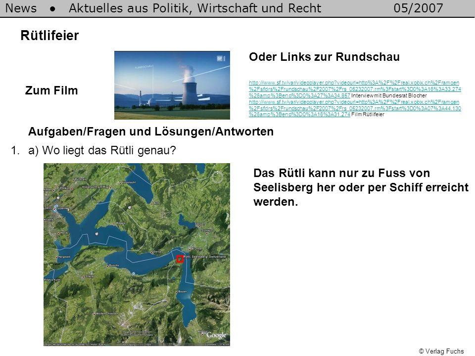 News Aktuelles aus Politik, Wirtschaft und Recht05/2007 © Verlag Fuchs Rütlifeier 1.a) Wo liegt das Rütli genau? Aufgaben/Fragen und Lösungen/Antworte