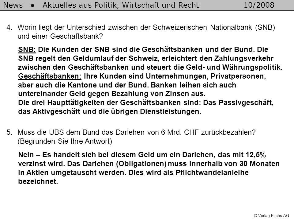 News Aktuelles aus Politik, Wirtschaft und Recht10/2008 © Verlag Fuchs AG 4.Worin liegt der Unterschied zwischen der Schweizerischen Nationalbank (SNB) und einer Geschäftsbank.