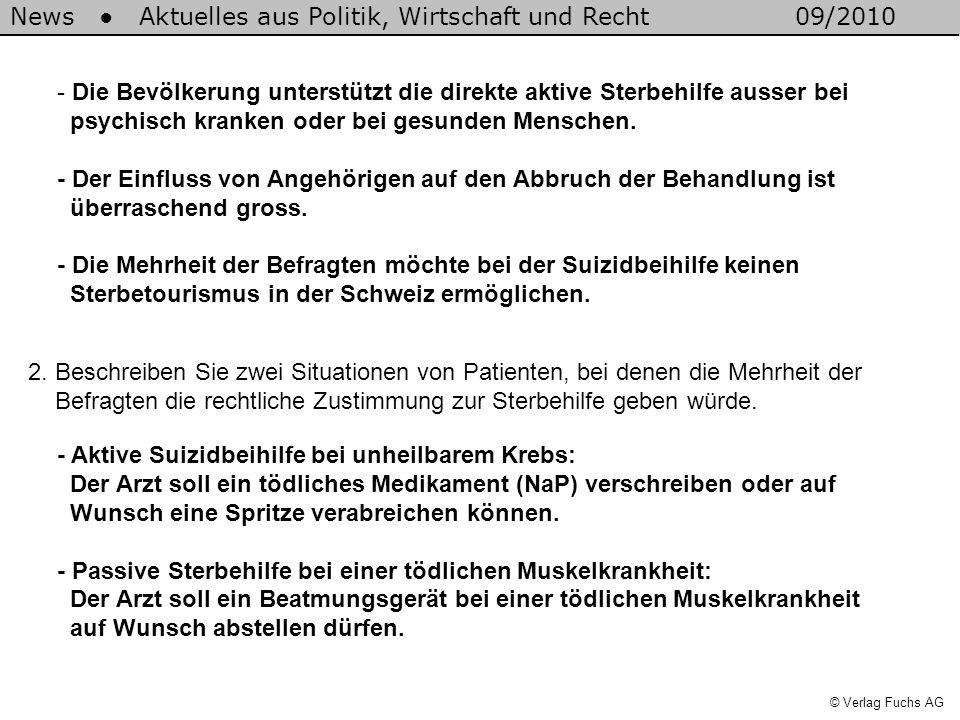 News Aktuelles aus Politik, Wirtschaft und Recht09/2010 © Verlag Fuchs AG - Die Bevölkerung unterstützt die direkte aktive Sterbehilfe ausser bei psyc