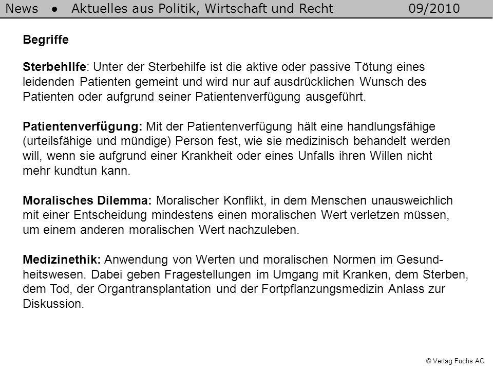 News Aktuelles aus Politik, Wirtschaft und Recht09/2010 © Verlag Fuchs AG Begriffe Sterbehilfe: Unter der Sterbehilfe ist die aktive oder passive Tötu