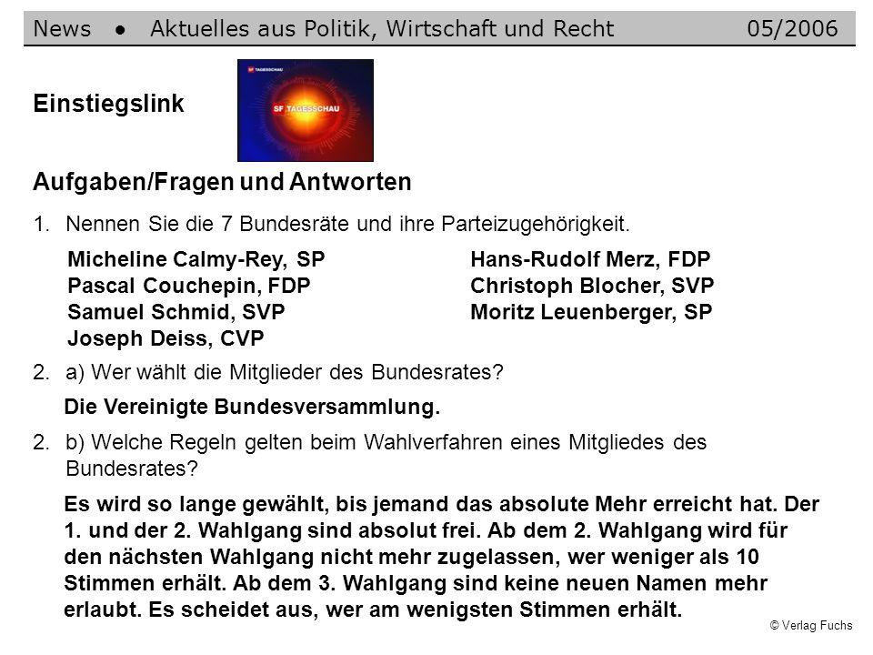 © Verlag Fuchs Einstiegslink Aufgaben/Fragen und Antworten 1.Nennen Sie die 7 Bundesräte und ihre Parteizugehörigkeit. News Aktuelles aus Politik, Wir