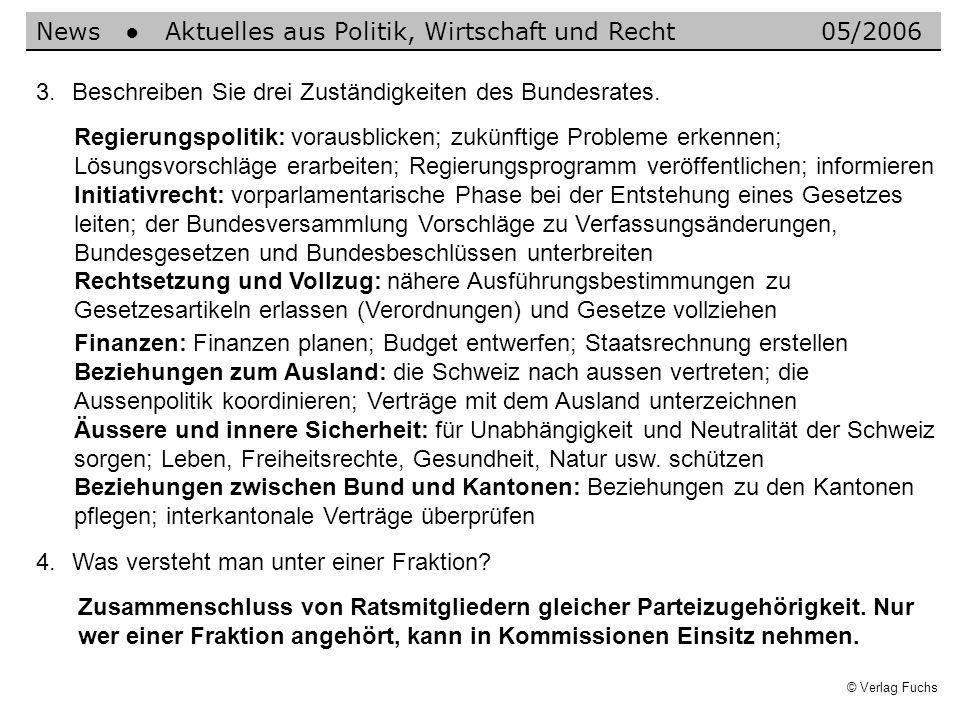© Verlag Fuchs Zusammenschluss von Ratsmitgliedern gleicher Parteizugehörigkeit. Nur wer einer Fraktion angehört, kann in Kommissionen Einsitz nehmen.