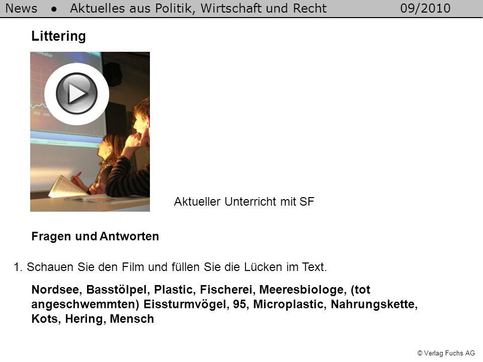 News Aktuelles aus Politik, Wirtschaft und Recht09/2010 © Verlag Fuchs AG Littering Fragen und Antworten 1. Schauen Sie den Film und füllen Sie die Lü