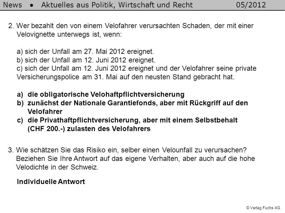 News Aktuelles aus Politik, Wirtschaft und Recht05/2012 © Verlag Fuchs AG a)die obligatorische Velohaftpflichtversicherung b)zunächst der Nationale Ga