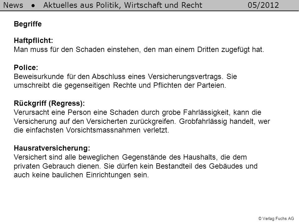 News Aktuelles aus Politik, Wirtschaft und Recht05/2012 © Verlag Fuchs AG Begriffe Haftpflicht: Man muss für den Schaden einstehen, den man einem Drit