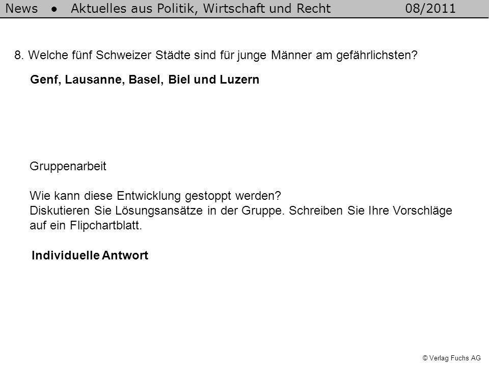 News Aktuelles aus Politik, Wirtschaft und Recht08/2011 © Verlag Fuchs AG 8.