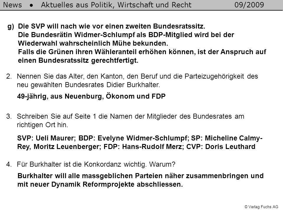 News Aktuelles aus Politik, Wirtschaft und Recht09/2009 © Verlag Fuchs AG g)Die SVP will nach wie vor einen zweiten Bundesratssitz.