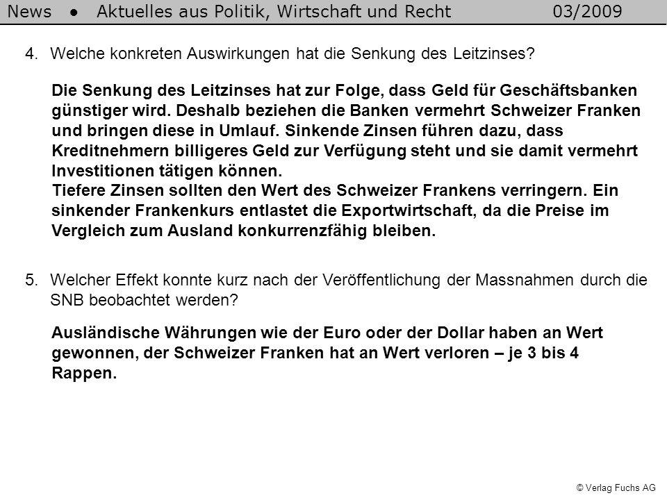 News Aktuelles aus Politik, Wirtschaft und Recht03/2009 © Verlag Fuchs AG 5.Welcher Effekt konnte kurz nach der Veröffentlichung der Massnahmen durch die SNB beobachtet werden.