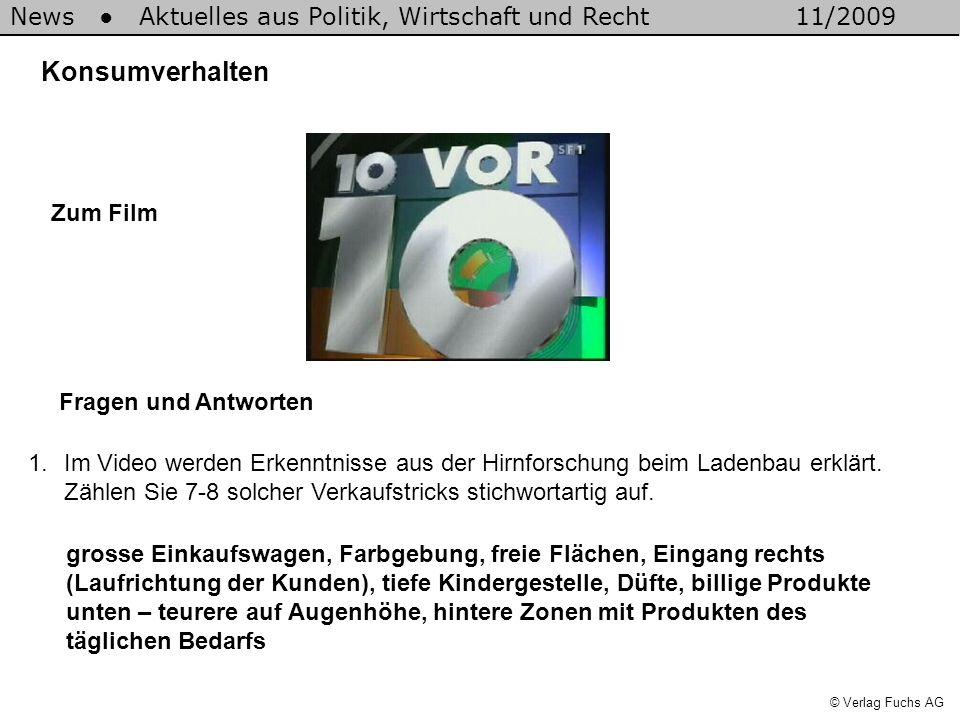 News Aktuelles aus Politik, Wirtschaft und Recht11/2009 © Verlag Fuchs AG Konsumverhalten 1.Im Video werden Erkenntnisse aus der Hirnforschung beim Ladenbau erklärt.