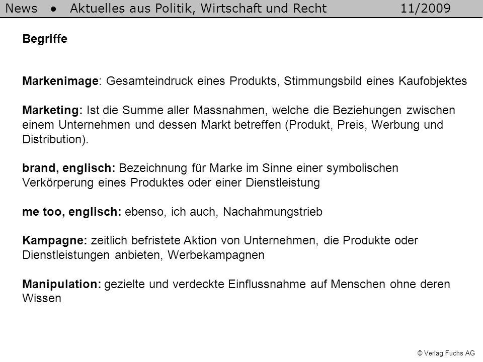 News Aktuelles aus Politik, Wirtschaft und Recht11/2009 © Verlag Fuchs AG Begriffe Markenimage: Gesamteindruck eines Produkts, Stimmungsbild eines Kau