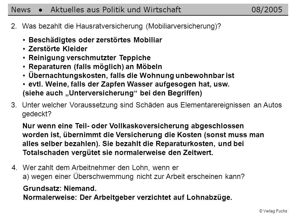 © Verlag Fuchs Nur wenn eine Teil- oder Vollkaskoversicherung abgeschlossen worden ist, übernimmt die Versicherung die Kosten (sonst muss man alles selber bezahlen).