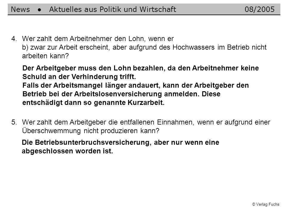 © Verlag Fuchs 4.Wer zahlt dem Arbeitnehmer den Lohn, wenn er b) zwar zur Arbeit erscheint, aber aufgrund des Hochwassers im Betrieb nicht arbeiten kann.