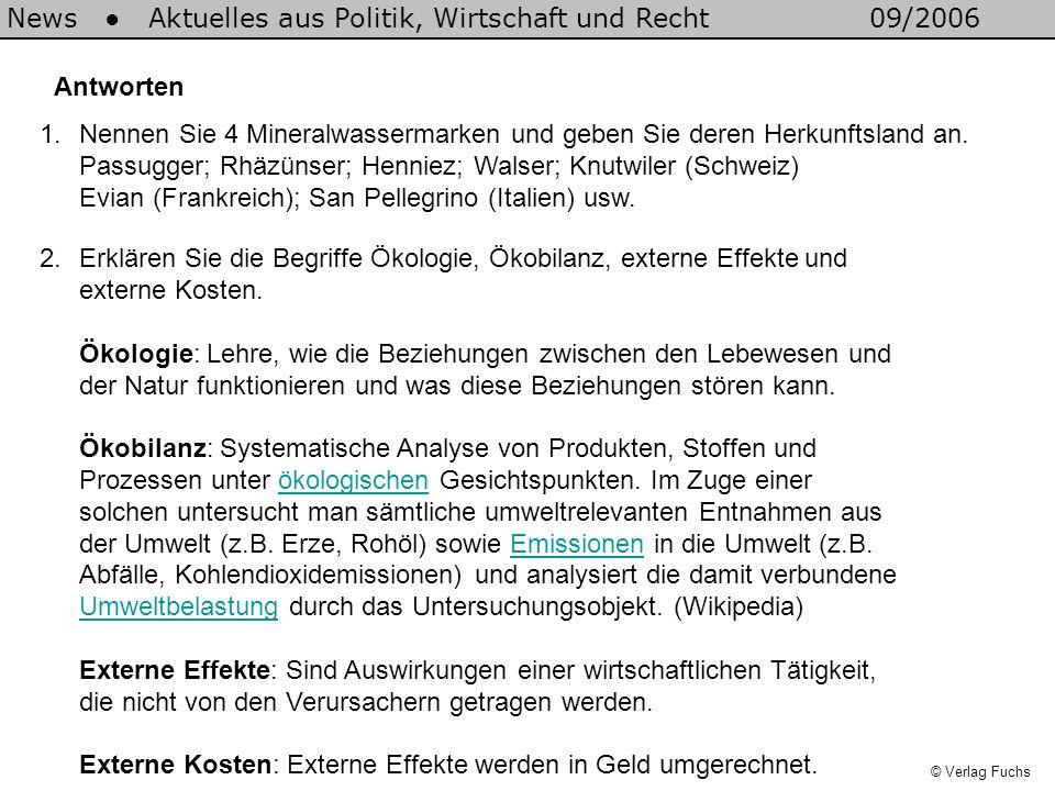 5.Aufträge und Frage zum Film a)Wie viel Mineralwasser wurde 1994, wie viel 2004 in die Schweiz importiert.