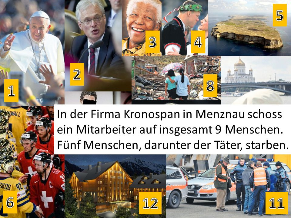 In der Firma Kronospan in Menznau schoss ein Mitarbeiter auf insgesamt 9 Menschen. Fünf Menschen, darunter der Täter, starben.