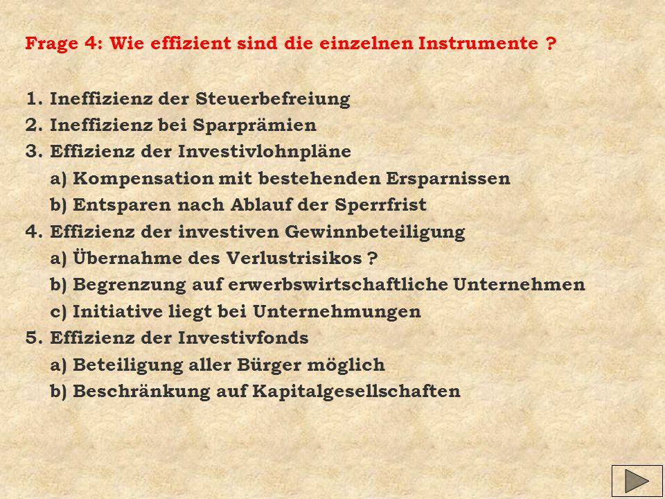 Frage 4: Wie effizient sind die einzelnen Instrumente ? 1. Ineffizienz der Steuerbefreiung 2. Ineffizienz bei Sparprämien 3. Effizienz der Investivloh