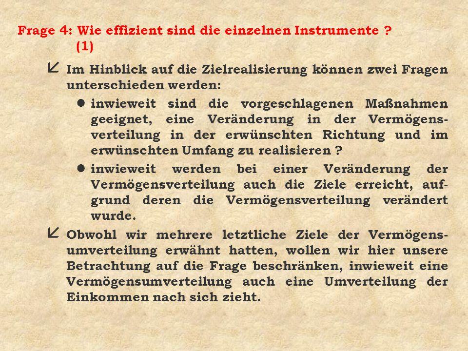 Frage 4: Wie effizient sind die einzelnen Instrumente ? (1) å Im Hinblick auf die Zielrealisierung können zwei Fragen unterschieden werden: l inwiewei