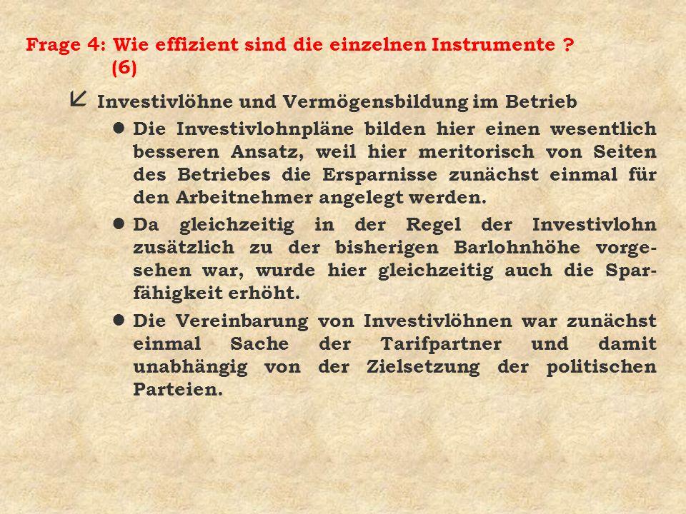 Frage 4: Wie effizient sind die einzelnen Instrumente ? (6) å Investivlöhne und Vermögensbildung im Betrieb l Die Investivlohnpläne bilden hier einen