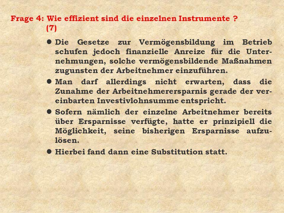 Frage 4: Wie effizient sind die einzelnen Instrumente ? (7) l Die Gesetze zur Vermögensbildung im Betrieb schufen jedoch finanzielle Anreize für die U