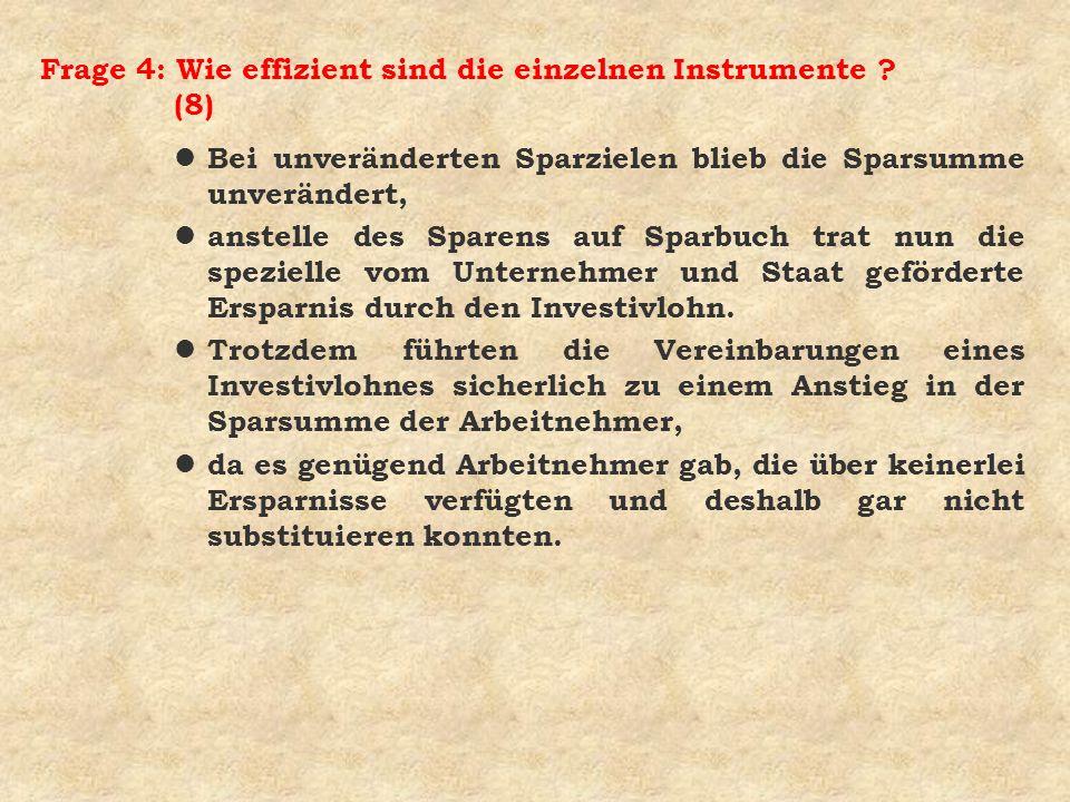 Frage 4: Wie effizient sind die einzelnen Instrumente ? (8) l Bei unveränderten Sparzielen blieb die Sparsumme unverändert, l anstelle des Sparens auf